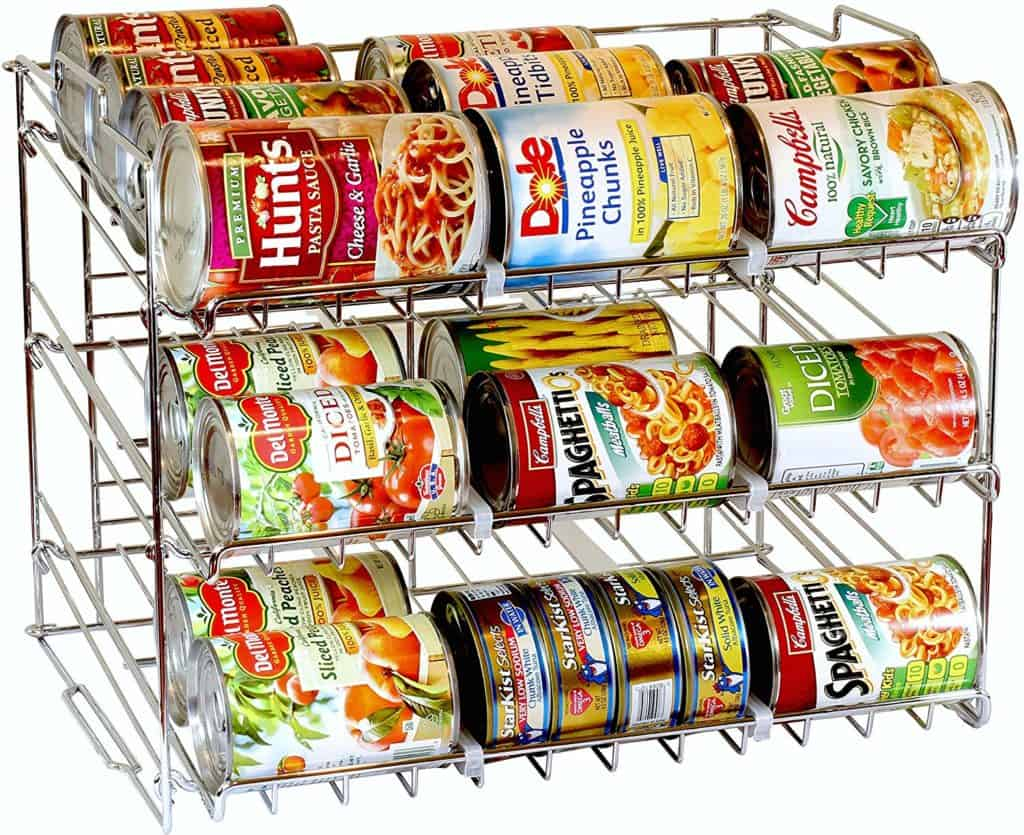 store a 3 month food supply of canned goods on this can storage organizer