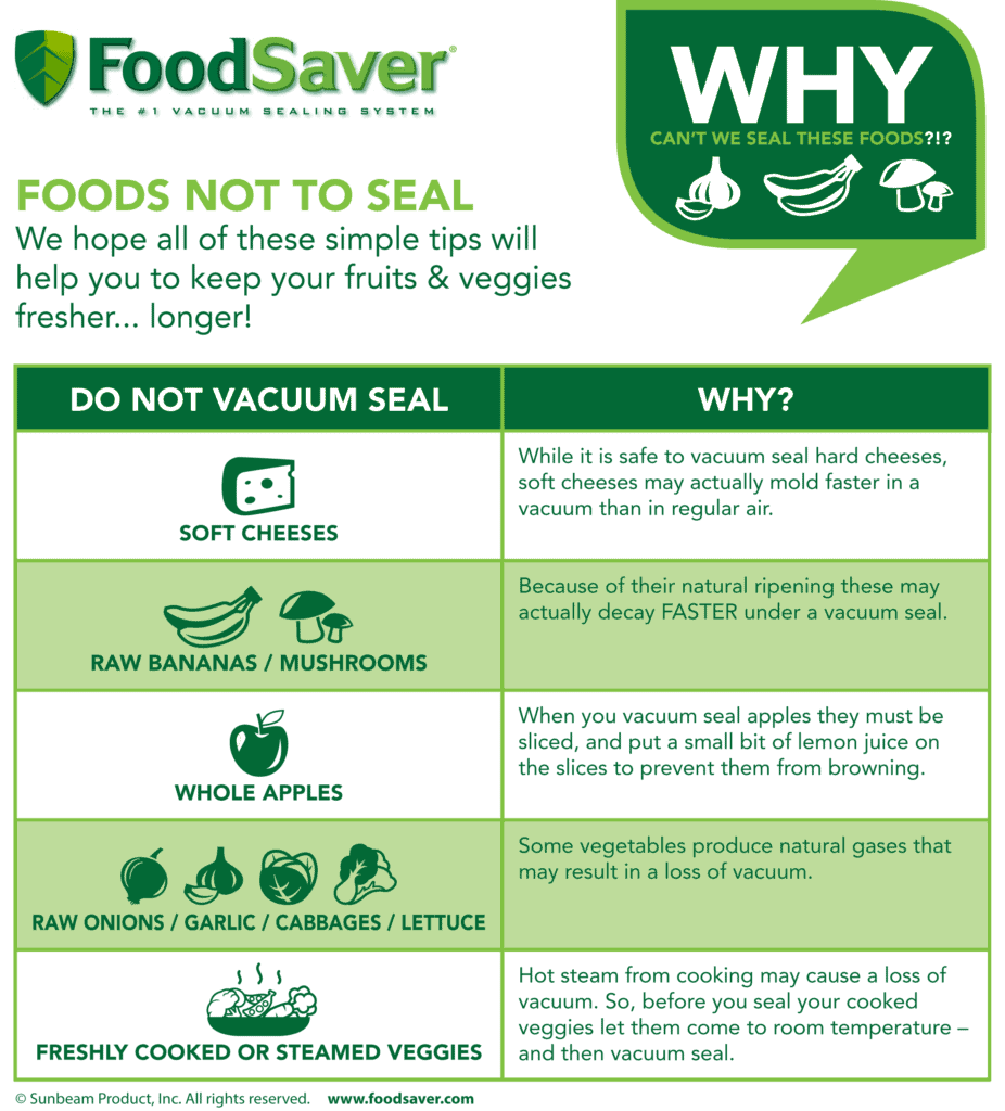 foods you should not vacuum seal